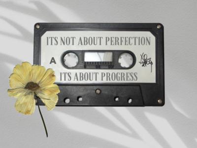 It's about progress positivity flower cassette digital art graphic illustration design