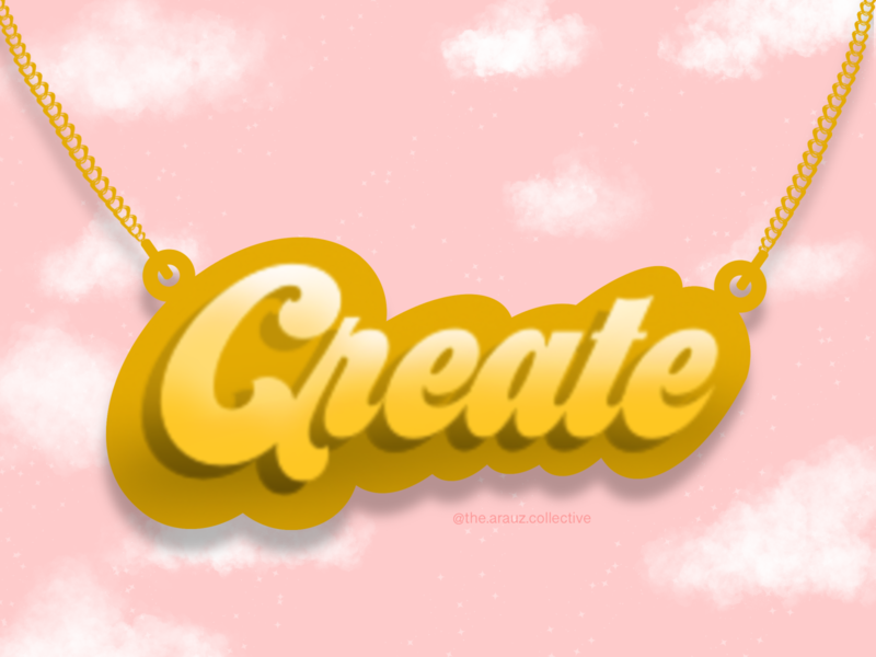 Just Create pink clouds create gold gold necklace necklace jewelry digital art illustration graphic design