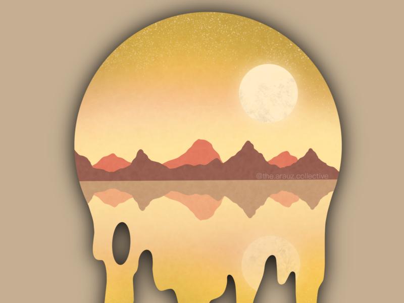 Desert Sunset Landscape desert landscape landscape illustration landscape desert sunset sunset desert digital art illustration graphic design