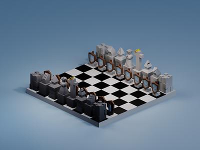 Lowpoly Chess chess minimal blender3dart blender3d blender lowpolyart lowpoly3d lowpoly lighting isometric illustration isometric design isometricart isometric illustration design