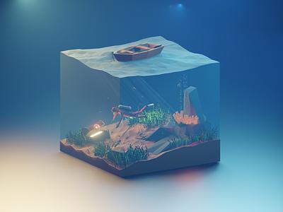 Under the Sea featured blenderartist eevee aquatic treasure sub sea blender3d blender lowpolyart lowpoly3d lowpoly lighting isometric illustration isometric design isometricart isometric illustration design