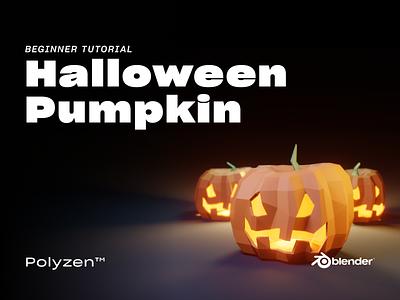 Lowpoly Halloween Pumpkin   Tutorial Video pumpkins halloween blendereevee blender3dart blender3d blender lowpolyart lowpoly3d lowpoly lighting illustration design