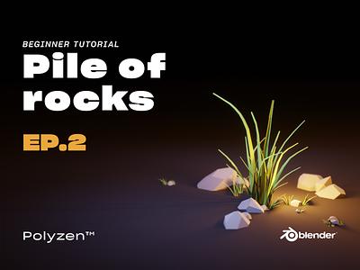 Lowpoly Pile Of Rocks   Ep 02   Beginner Tutorial diorama tutorial pileofrocks rocks blendereevee blender 3d blender3dart lowpoly3d blender3d blender lowpolyart lowpoly lighting illustration design