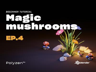 Lowpoly Magic Mushrooms | Ep 04 | Blender 2.90 | Beginner Tuts diorama tutorial magicmushrooms mushrooms isometric illustration isometric design isometric art isometric blender3dart lowpoly3d blender3d blender lowpolyart lowpoly lighting illustration design