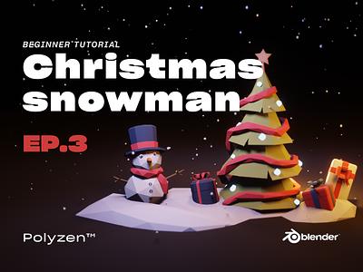 Lowpoly Christmas Snowman  Ep 03   Blender 2.90   Beginner Tuts isometricart tutotial christmas jinglebell snowman isometric blender3dart lowpoly3d blender3d blender lowpolyart lowpoly lighting illustration design