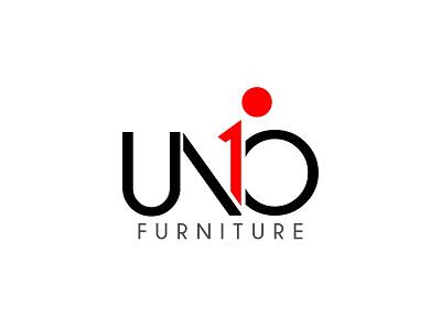 UNO design brand person red contrast uno one vector minimalist logo minimalistic minimalist furniture