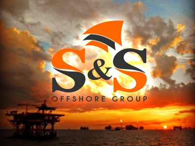 S & S Safety Offshore Group flame fire design branding logo vector shield logo waves ocean platforms oilrigs shield safety