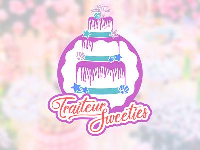 Traiteur Sweeties design branding france brand cake logo vector pastel reposteria bakery birthday cupcake cake
