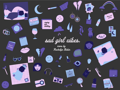 An Icon a Day for 50 Days: Sad Girl Vibes icon illustration flat