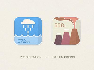 Energy System Icon 04 ui icon kingyo energy percipitation,gas emissions measure system