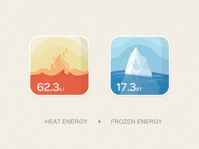 Energy System Icon 08 heat fire ice sea frozen hot cold energy icon kingyo china
