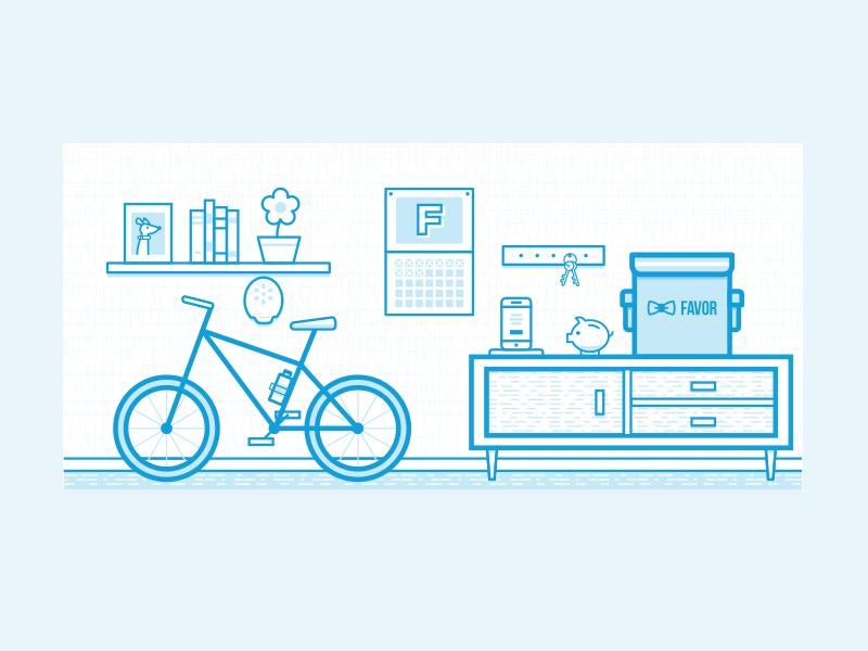 Before You Run texture furniture living room monoline bike favor branding illustration