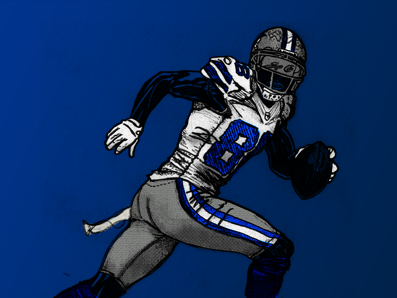 Can't C Me #88 sports cowboys football texture ink drawing illustration