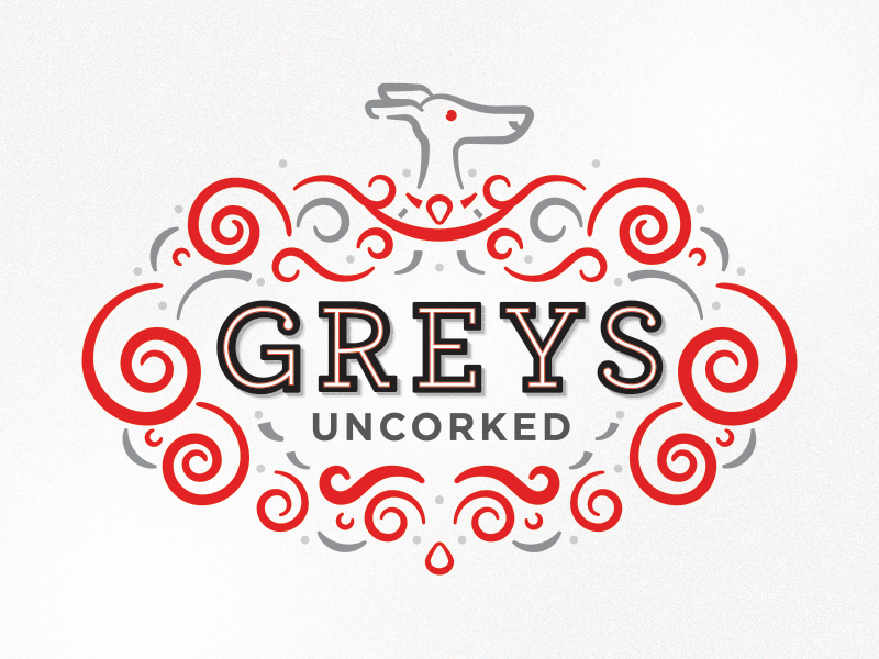 Greys Uncorked dogs greyhound nonprofit wine packaging hand drawn drawing branding illustration