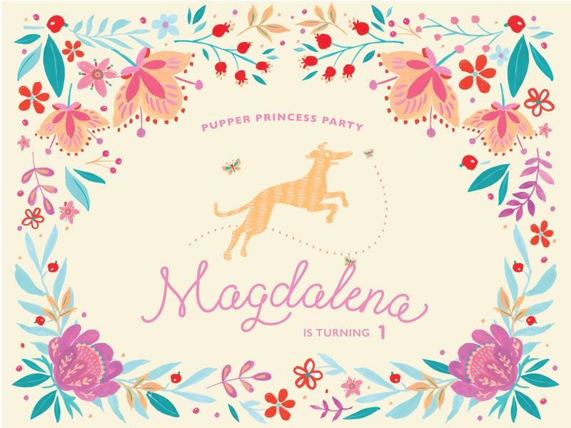 Pupper Princess Party flowers dogs greyhound invitation birthday digital paint hand drawn drawing illustration
