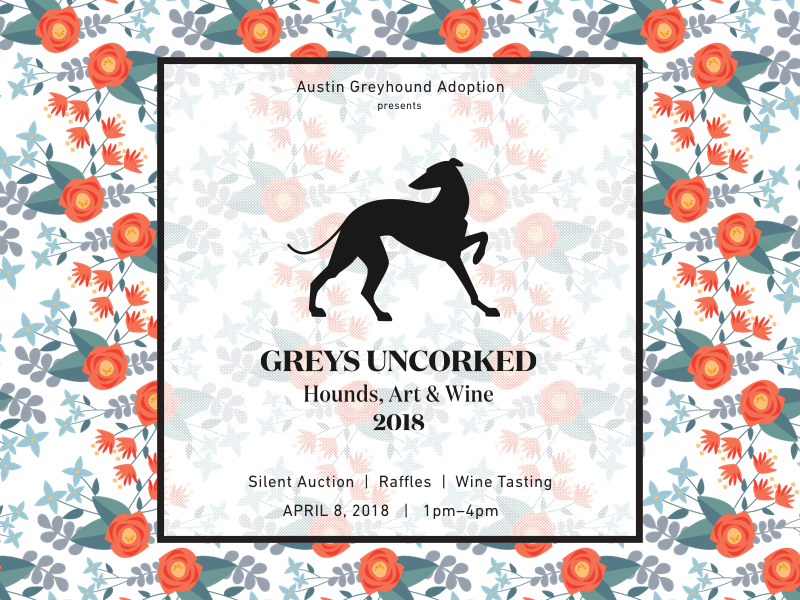 Greys Uncorked 2018 pattern nonprofit dogs greyhound illustration