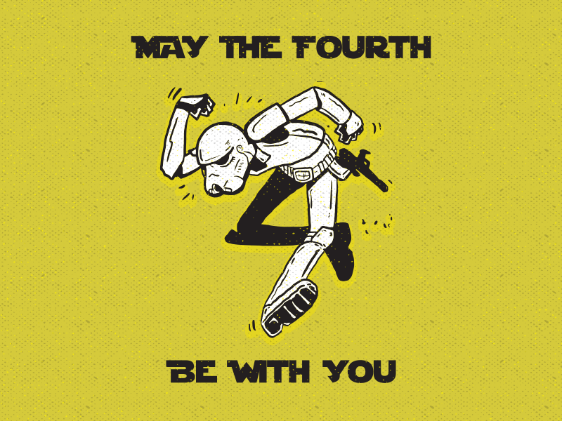 May the Fourth storm trooper may 4th star wars retro texture ink illustration