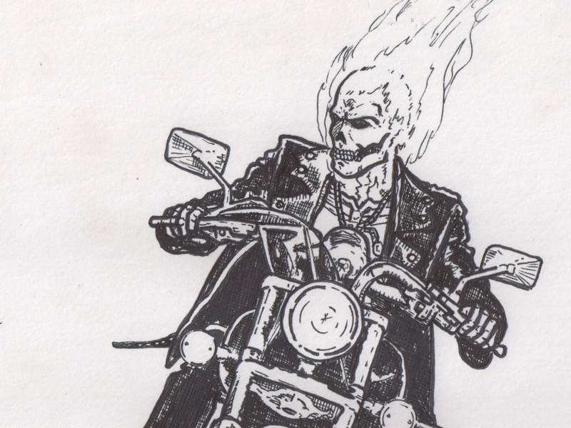 Ghost Rider (WIP) drawing motorcycle ghost rider super heroes ink illustration