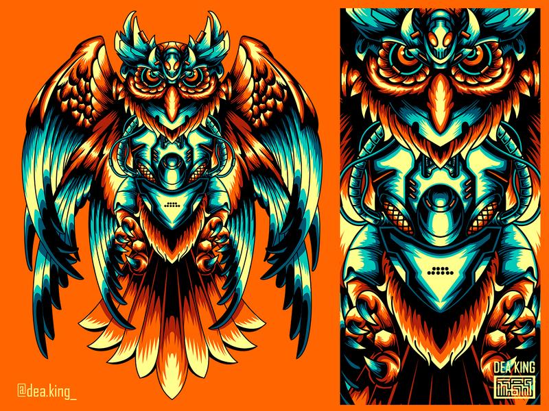 OWLMECHINE robot apparel wolf mecha vector tshirtdesign tshirt illustration design
