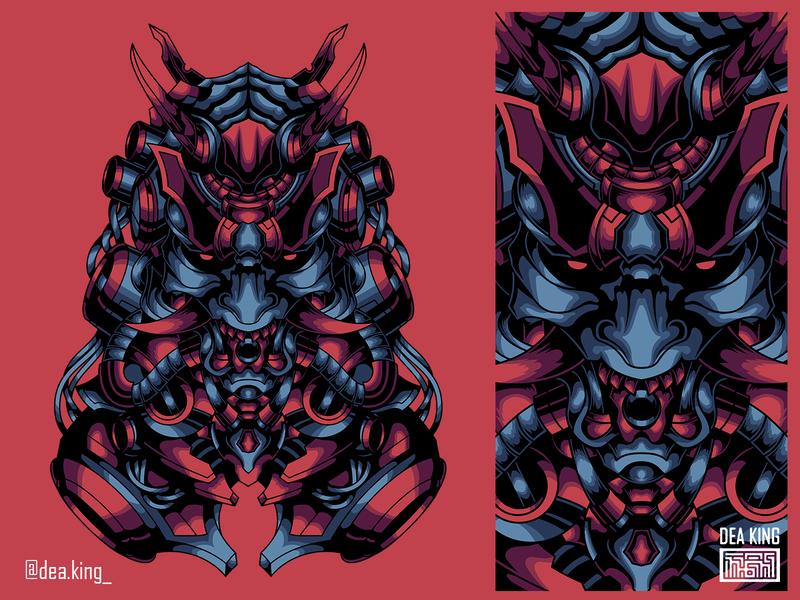 CyborgSamurai samurai mask apparel mecha vector tshirtdesign tshirt illustration design
