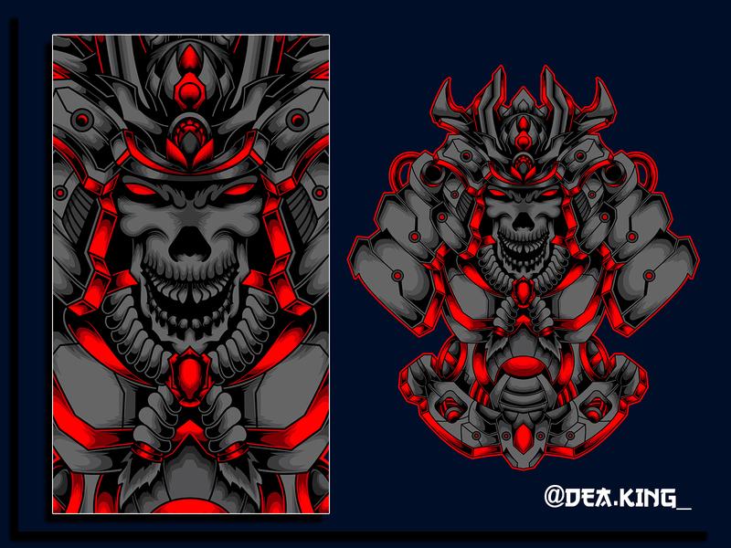 THE-MECH SHOGUN drawing vectorart vectors vexel shogun robot body skull helm asia logo samurai mask vector tshirtdesign tshirt mecha illustration design apparel