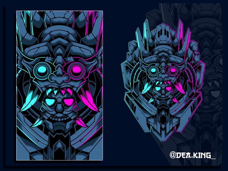 BARONG MECHA robot asia skull logo drawing animal mask vector tshirtdesign tshirt mecha illustration design apparel
