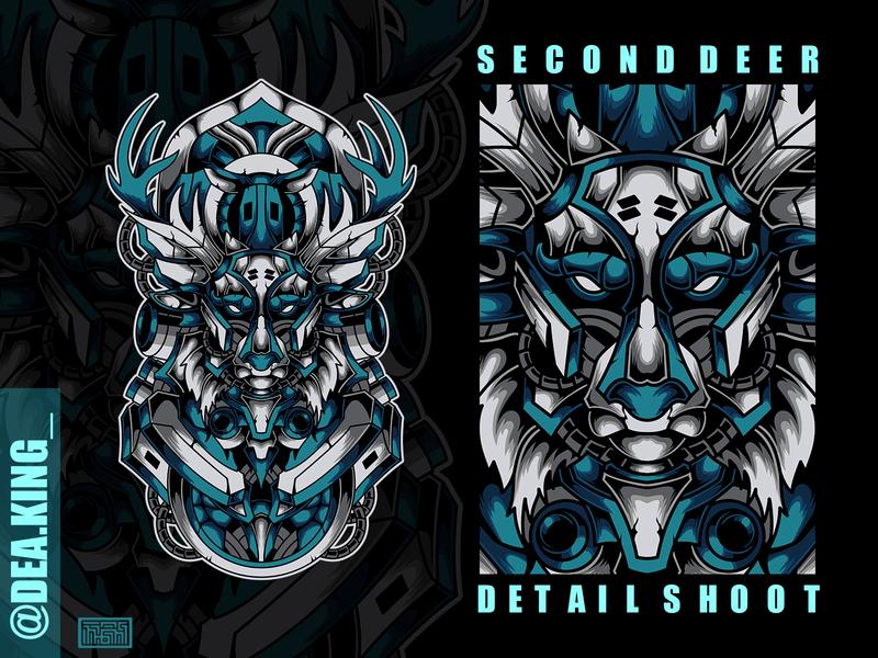 SecondDeer artwork art drawing tshirtdesign tshirt animal illustration deer animal logo vector mecha illustration design apparel