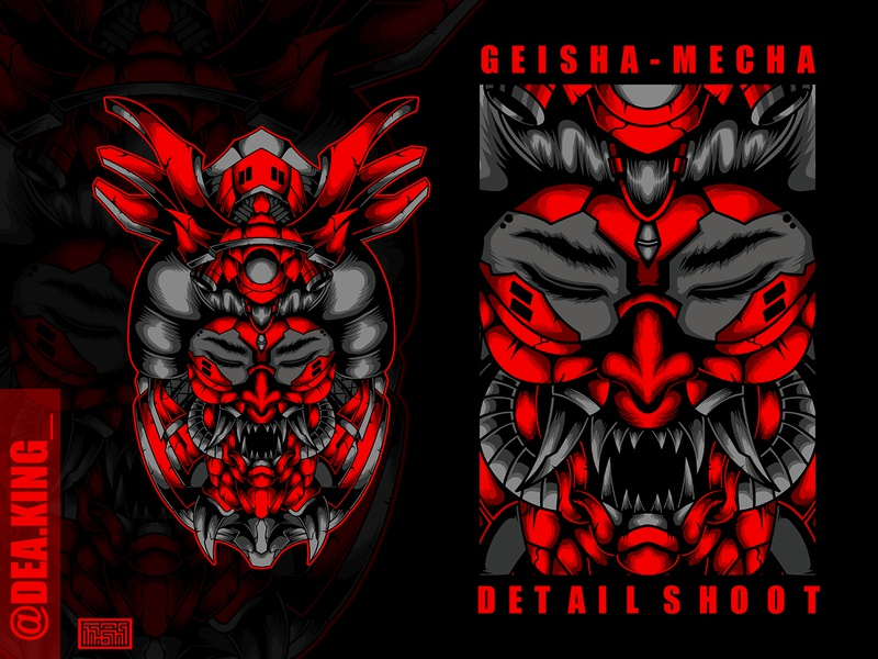 Geisha Mecha oni mask ronin warrior samurai geisha artwork art logo drawing vector tshirtdesign tshirt mecha illustration design apparel
