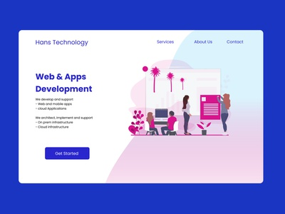 landing page website illustration web ux ui design