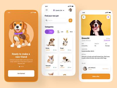 Pet Adoption App Design ux ui ui ux mobile app design ui design pet app app design