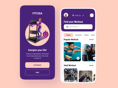 Gym Workout Fitness App Design design ux ui ui ux mobile app design ui design app design workout gym fitness app