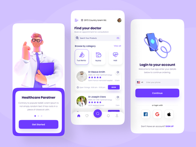 Doctor Appointment App Design illustration logo design ui design mobile app design daily app design ui ux app design doctor app
