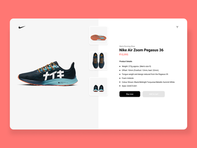 Day 12: Single Product product design marketing nike nike shoes ecommerce app single product 012 day012 ux design daily 100 challenge dailyui ui