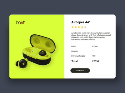 Day 17: Email Receipt wearables headphone airport boat ordering email receipt product page product design selling shots 017 day017 daily 100 challenge dailyui ux ui