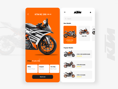 Day 22: Search mobile app design mobile ui ecommerce app booking bikes search results searching search ktm bike ktm 022 day022 ux daily 100 challenge dailyui ui