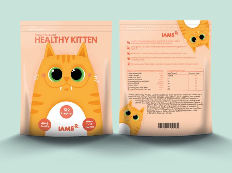 Cat's food packaging minimal branding kitten artwork art adobe illustrator adobe illustrator food packaging design food cat packaging design packaging vector design illustration
