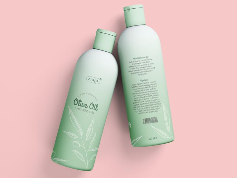 shower gel bottle design bottle oil olive shower packaging illustrator illustration food packaging design design branding artwork art adobe illustrator adobe