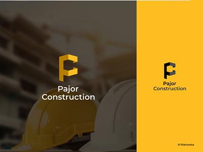 Pajor Construction design minimal vector logo flat branding