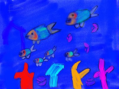 Piranhas swim in the sea adobe fresco illustration ipad pro