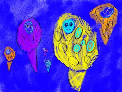 Amosonostingrays swim in the sea flounder fish fish adobe fresco kids art kids draw illustration ipad pro