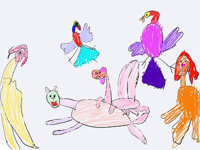 Black pow illustraion kids art illustration ipad pro kids draw
