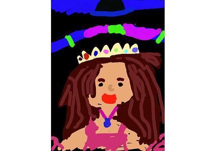 Blue princes procreate illustration kids art kids draw ipad pro
