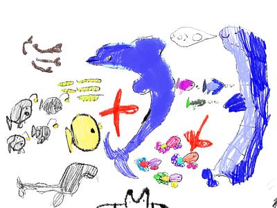 Dolphin illustration kids art kids draw ipad pro