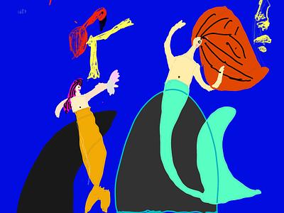 mermaids on pebbles illustration kids art kids draw ipad pro