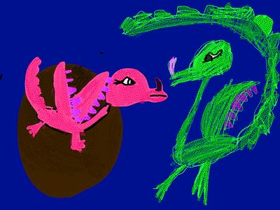Little dragons illustration kids art kids draw ipad pro