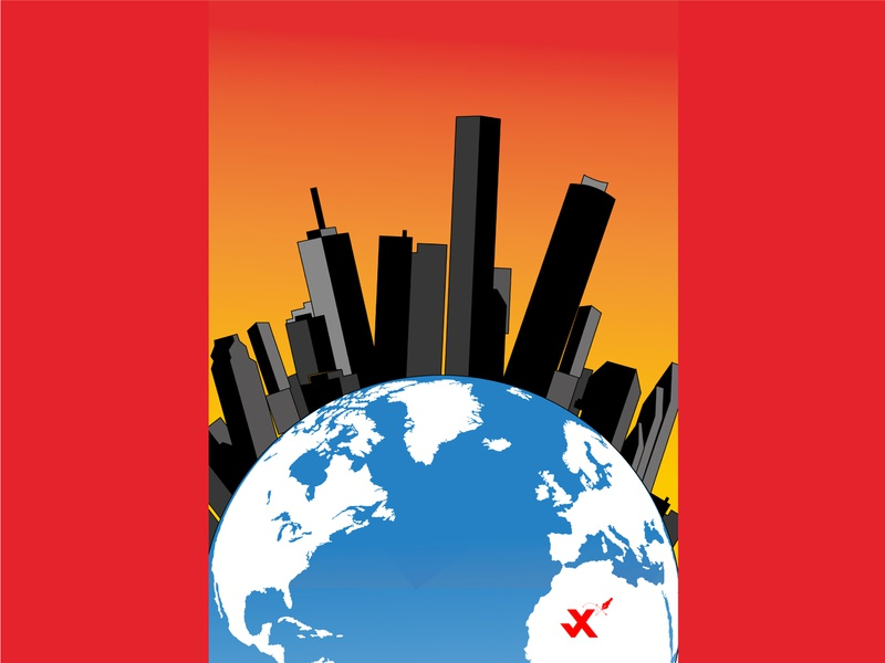 City website minimal flat icon johirulxohan branding vector illustration design buildings building earth