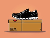 Shoe  with box flat animation logo ui icon johirulxohan vector illustration design brand shoe branding