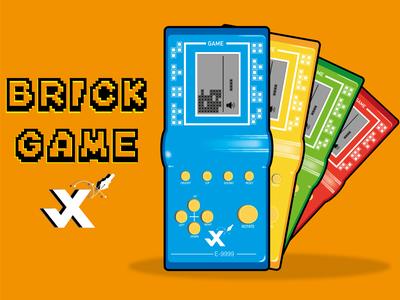 Brick Game flat ui logo icon branding johirulxohan vector illustration design child game