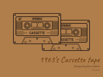 Cassette tape flat branding johirulxohan vector illustration design music art music player music tape recorder tape 1963
