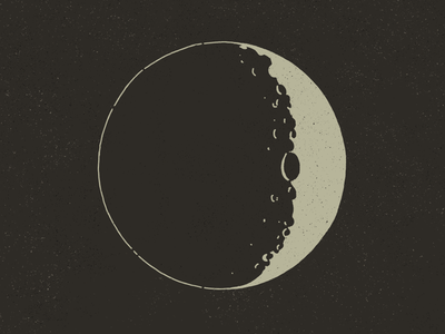 Moon by Hand solar system planet crater night space solar by hand hand illustrated lunar crescent moon